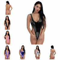Women Leather Wetlook Bodysuit Clubwear Swimsuit High Cut Thong Leotard Swimwear