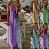 Women Summer Floral V Neck Maxi Dress Sleeveless Boho Strap Party Beach Sundress
