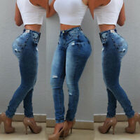 Womens High Waist Ripped Jeans Pencil Pants Casual Stretch Skinny Denim Trousers