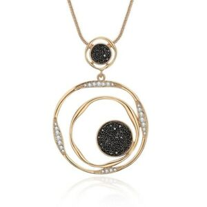Luxury Circles Crystal Long Pendant Necklace - Gold Plated - New in Gift Box