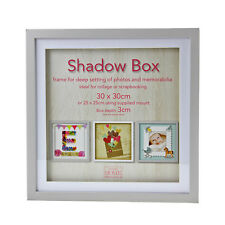 30cm Square Grey Wooden Deep Shadow Box 3D Photo Picture Frame Scrabble Display