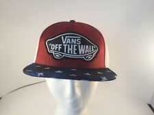 VANS trucker style hat red white blue USA flag adjustable size New with tags
