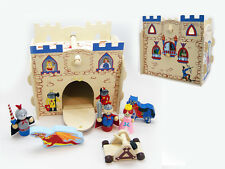 Wooden Kingdom Castle Medieval Play Set Pretend Toy Knight Princess Catapult