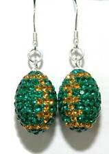 GREEN & GOLD CRYSTAL & STERLING SILVER FOOTBALL DANGLE EARRINGS (D011)