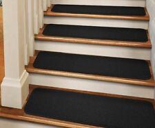 """Set of 12 TAPE-DOWN Carpet Stair Treads 8""""x30"""" BLACK runner rugs"""