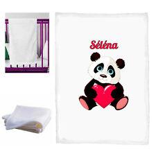 couverture bébé panda coeur personnalisé naissance baptème prenom réf 35