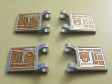 LEGO Flag 2 x 2 Square with An Orange and Silver Circuitry Pattern x 4 (New)