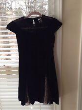 Collette Dinnigan Black Velvet Dress With Lace Parts, Mini, Cocktail, Size M