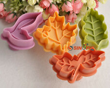 4pcs Maple Leaf Cutter Fondant Sugar Craft Decorating Cake Cookie DIY Mould Mold