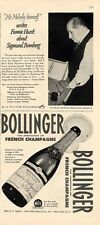 1951 RCA  &  Bollinger two PRINT ADs Mr Melody & French Champagne 1943 Bottle