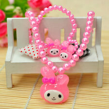 Child Girl Kids Pink Plastic Pearl Hello Kitty Bead Necklace Bracelet Ring Sets