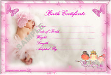 """PRETTY PINK BABY BIRTH CERTIFICATE/CERTIFICATES 4 REBORN FAKE BABY approx 7""""x 5"""""""