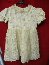 Vintage Child's Dress pink flowered satin with Lace skirt overlay