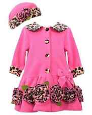 Bonnie Jean Girls Fuchsia Leopard Bonaz Fleece Fall Winter Coat & Hat 2T New