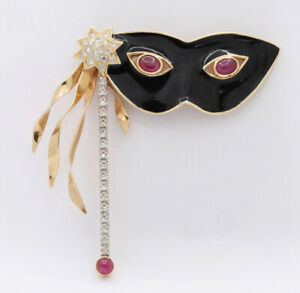 CHRISTMAS 1.02ct Natural Round Diamond 14K Yellow Gold Enamel Ruby Mask Brooch