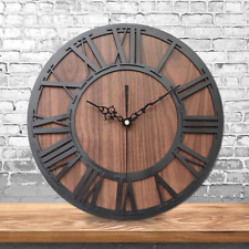 Farmhouse Rustic Handmade Wooden Silent Wall Clock European Vintage Home Decor