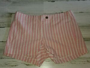 J. Crew Shorts Women's Pink/White Striped 2 Side Pocket Shorts Sz 6 Linen Blend