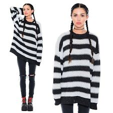 Vtg 80s 90s STRIPED Oversized Grunge Knit Pullover Boyfriend Sweater Jumper Top
