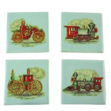 """New listing Vintage Dal-Tile Usa Robins Egg Blue 4"""" Tiles Set of 4 Locomotives Trains Decals"""