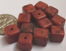 "80 Czech Glass 8mm ""Terra Cotta"" Deluxe Deep Orange Marbled Cube Beads"