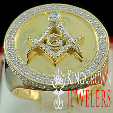 Genuine Real Diamond Mens Round  Masonic Pinky Ring Band 10K Yellow Gold Finish