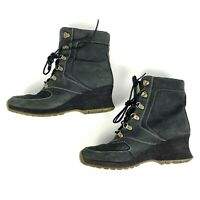 Timberland Women's Black Nubuck Wedge Lace-Up Ankle Boots Size 7
