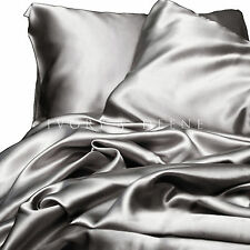 Silver Satin Sheet Set KING Size Luxury Silk Feel 4pc Bed Linen Bedding New