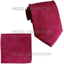 "New Vesuvio Napoli Men's 2.5"" skinny necktie & hankie set paisley party hot pink"
