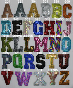 Choose 2 Letters, Sequin Patches, Iron-On, Many Colors