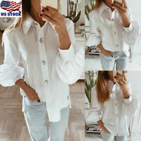 Womens Casual Long Puff Sleeve Blouse Shirt OL Ladies Button Down Tops T-shirt