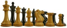 """Paul Morphy Staunton 3.5"""" Chess Pieces in Ebonised & Box Wood with Storage Box"""