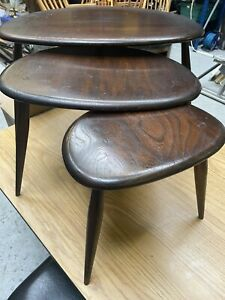 Ercol Nest Of Pebble Tables Vintage