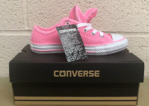 CONVERSE All Star Double Tongue Ox Girls Trainer Mesh Pink UK 1