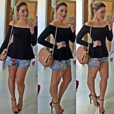 Women Lady Off Shoulder Bardot Peplum Long Sleeve Top T-Shirt Slim Fit Shirts