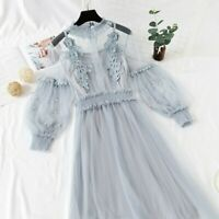 Women Lace Hollow Out Puff Sleeve Floral Dress Retro Mesh Fairy Gothic Lolita