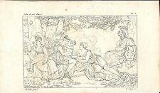 Stampa antica TELEMACO e CALIPSO a OGIGIA mitologia 1808 Old antique print