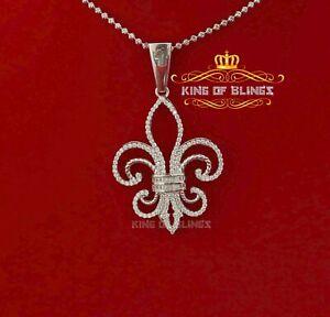 10K White Gold Finish 925 Silver Cubic Zirconia Saints Pendant
