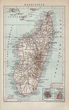 Landkarte map 1894 MADAGASKAR. Afrika Réunion Mauritius Comoren Africa Mosambik