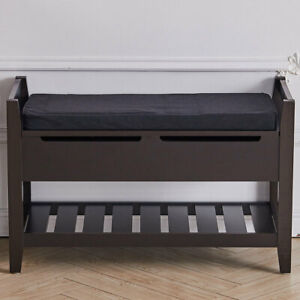 Shoe Bench Hallway Entryway Wood Shoes Storage Rack Ottoman Cabinet Padded Seat