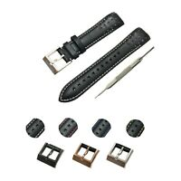 Fits For Seiko Sportura Watches 21mm Black (White) Genuine Leather Watch Strap