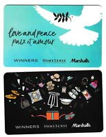 2 collectible WINNERS MARCHALLS HOMESENCE gift card cards Canada TJX #09