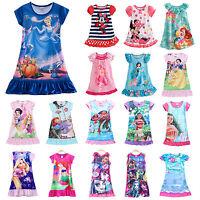 Girls Kids Princess Moana Elsa Nightdress Pajamas Nightwear Nightie Sleepwear