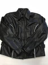 Mens BIKER Black Heavy Leather Biker Motorcycle Jacket Sz XL