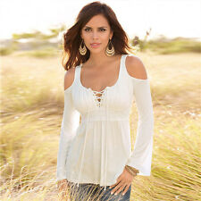 Plus Size Womens Off Shoulder Lace Up Tee Shirt Pleated Slim Tops Blouse Shirts