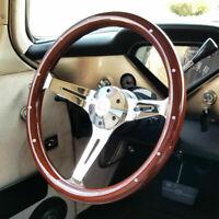 "380mm Chrome Dark Steering Wheel Real Wood Riveted Grip (15"") - 6 Hole NEW"