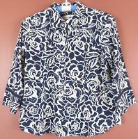 TB06573- COLDWATER CREEK Women's Cotton Blouse 3/4 Sleeve Navy White Floral L