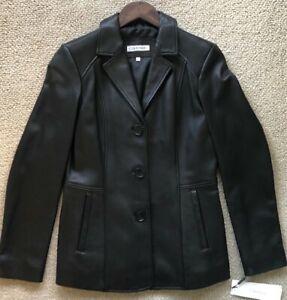 Calvin Klein Plus Size Women's Leather Jacket Black NWT $600 (17)