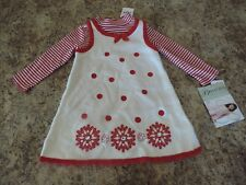 Christmas Red Sweater Snowflake Dress size 24 month 2 Piece Bonnie Jean  NWT