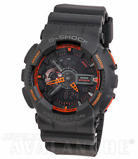 CASIO G-SHOCK XL ANALOG-DIGITAL Dark Gray Resin Neon Orange Accent GA110TS-1A4