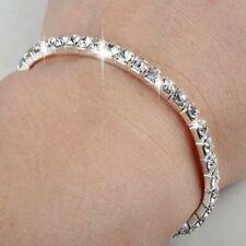Diamante Crystal Diamond Rhinestone Bangle Bracelet Silver Wedding Party Chain